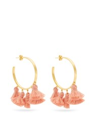 Marte Frisnes Raquel Gold Plated Tassel Hoop Earrings Pink