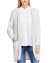 Vince Camuto Two By Plaited Rib Hooded Cardigan Antique White