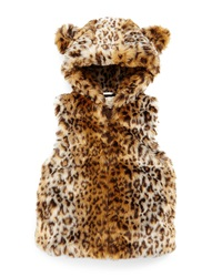 Kate Spade New York Leopard Print Faux Fur Vest Tan Size 2 6 Animal Print