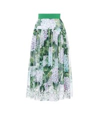 Dolce And Gabbana Lace Trimmed Silk Skirt Multicoloured