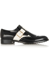 Tod's Two Tone Glossed Leather Loafers Black