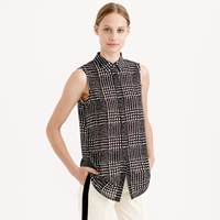 J.Crew Petite Sleeveless Blouse In Graphic Plaid