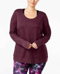 Ideology Plus Size Open Back Top Only At Macy's Mystic Plum Heather