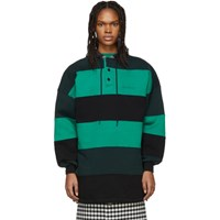 Balenciaga Green And Black Patchwork Hoodie