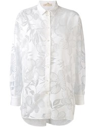 Mantu Sheer Floral Pattern Shirt Women Cotton Polyamide 40 White