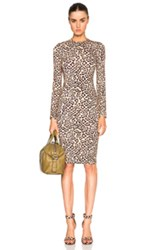 Givenchy Long Sleeve Leopard Print Jersey Dress In Neutrals Animal Print