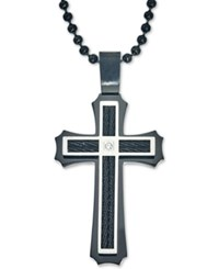 Macy's Men's Diamond Accent Cross Pendant Necklace In Stainless Steel And Ion Plating Black