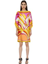 Emilio Pucci Flowers Printed Silk Twill Tunic Dress