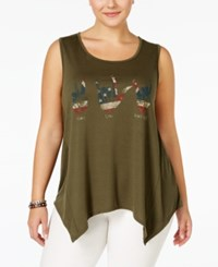 Ing Plus Size Graphic Handkerchief Hem Tank Top Olive