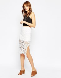 Wyldr Deal Breaker Pencil Skirt In Lace White