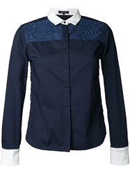 Loveless Lace Panel Shirt Blue