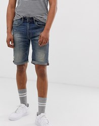 Blend Of America Distressed Denim Shorts In Mid Blue Wash