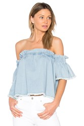 Central Park West Santa Cruz Off Shoulder Top Baby Blue