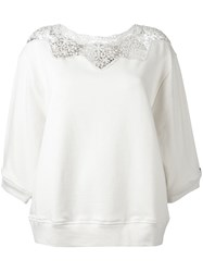 Twin Set Lace Neck Blouse Nude Neutrals