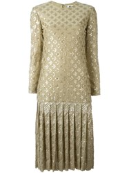 Christian Dior Vintage Sequinned Drop Hem Dress Nude And Neutrals
