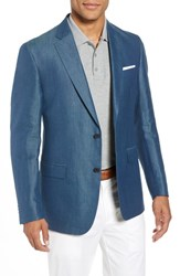 John W. Nordstrom Traditional Fit Linen And Silk Blazer Teal