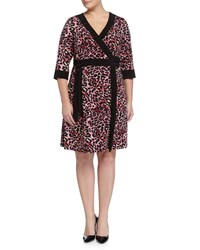 Melissa Masse Plus Leopard Print Wrap Dress Marsala