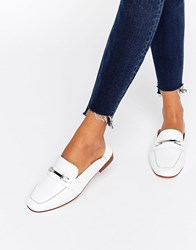Faith Backless Leather Loafers White Leather