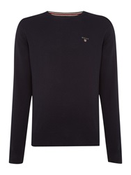 Gant Crew Neck Cotton Wool Jumper Navy