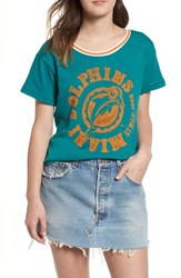 Junk Food Nfl Dolphins Kick Off Tee Teal Orange