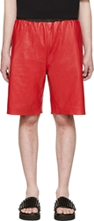99 Is Red Leather Basketball Shorts