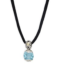 John Hardy Batu Blue Topaz 18K Yellow Gold And Sterling Silver Pendant Necklace