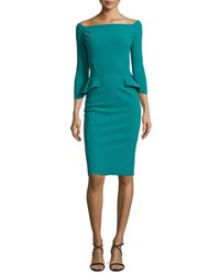 La Petite Robe Di Chiara Boni 3 4 Sleeve Off The Shoulder Peplum Sheath Dress Cyclamen