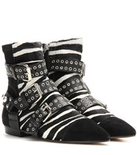 Isabel Marant Rolling Calf Hair And Suede Embellished Ankle Boots Black