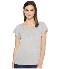 Lilla P Shirred Neck Top Pewter Heather Women's Clothing Gray