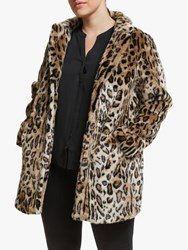 Junarose Curve Leopard Faux Fur Coat Black Multi