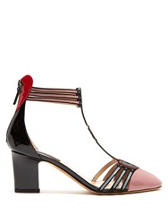 Valentino Love Blade Patent Leather Pumps Black Pink