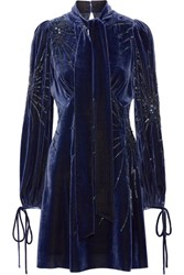 Marc Jacobs Pussy Bow Embellished Velvet Mini Dress Storm Blue