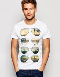 Blend Of America Blend American Shades Print Slim T Shirt In White Offwhite
