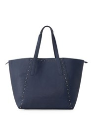 Liebeskind Reversible Textured Leather Tote Night Blue