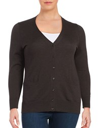 Lord And Taylor Plus Button Front Merino Wool Cardigan Dolce Heather