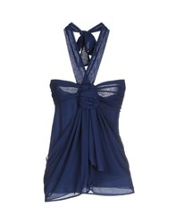 Pf Paola Frani Topwear Tube Tops Women Dark Blue