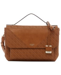Guess Cammie Top Handle Flap Crossbody Cognac