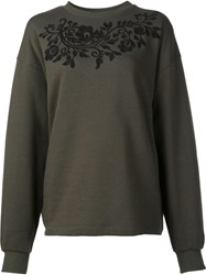 P.A.R.O.S.H. Floral Embroidered Sweatshirt Green