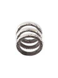 Henson Carved Stacker Rings Sterling Silver Grey