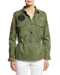 Zadig And Voltaire Cotton Button Front Military Jacket Khaki Women's