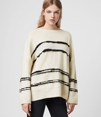 Allsaints Tara Cashmere Blend Stripe Jumper Cream Black