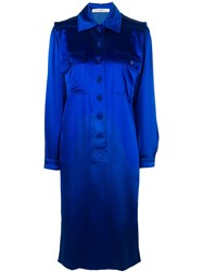 Jean Louis Scherrer Vintage Mid Length Shirt Dress Blue