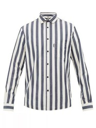 Ymc Curtis Striped Cotton Poplin Shirt Navy