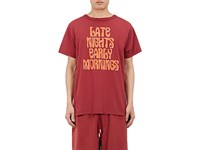 Off White Men's Late Nights Cotton T Shirt Burgundy Red
