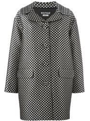 Boutique Moschino Polka Dot Printed Cocoon Coat Black