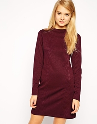 Asos Shift Dress In Snake Texture With Long Sleeve And High Neck Red