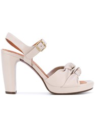 Chie Mihara Knot Detail Platform Sandals Women Leather Rubber 38 Nude Neutrals