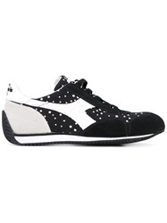 Diadora Dot Panel Sneakers Women Cotton Leather Rubber 6 Black