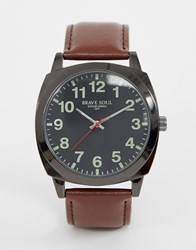 Brave Soul Watch With Brown Strap