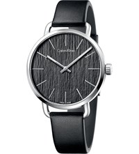 Calvin Klein K7b211c1 Even Stainless Steel And Leather Watch Black